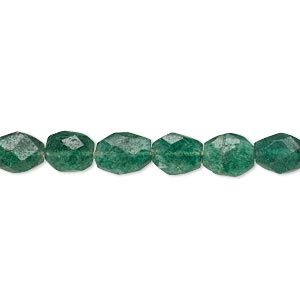 bead, emerald green aventurine (natural), 7x6mm-10x7mm hand-cut faceted puffed oval, c grade, mohs hardness 7. sold per 14-inch strand.