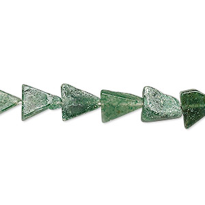 bead, emerald green aventurine (natural), 8x8x7mm-13x13x10mm hand-cut flat triangle, c- grade, mohs hardness 7. sold per 13-inch strand.