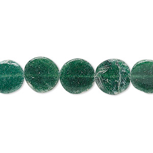 bead, emerald green aventurine (natural), 9-11mm hand-cut flat round, c- grade, mohs hardness 7. sold per 13-inch strand.