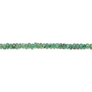 bead, emerald (natural), 2x1mm-3x2mm hand-cut rondelle, c- grade, mohs hardness 7-1/2 to 8. sold per 7-inch strand.