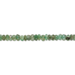 bead, emerald (natural), 3x2mm-4x3mm hand-cut faceted rondelle, c- grade, mohs hardness 7-1/2 to 8. sold per 8-inch strand.