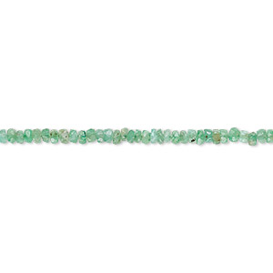 bead, emerald (oiled), 2x1mm-3x2mm hand-cut faceted rondelle, c- grade, mohs hardness 7-1/2 to 8. sold per 6-inch strand.