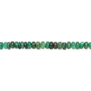 bead, emerald (oiled), 3x1mm-4x3mm hand-cut rondelle, d grade, mohs hardness 7-1/2 to 8. sold per 12-inch strand.