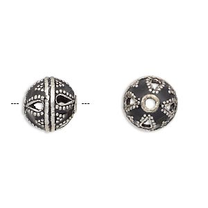 bead, enamel and antique silver-plated brass, opaque black, 11mm beaded round. sold per pkg of 2.