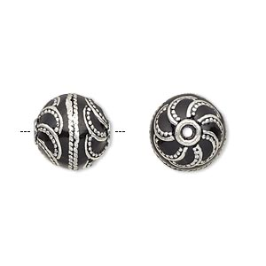 bead, enamel and antique silver-plated brass, opaque black, 12.5mm beaded round. sold individually.
