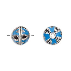 bead, enamel and antique silver-plated brass, opaque turquoise blue, 11mm beaded round. sold per pkg of 2.