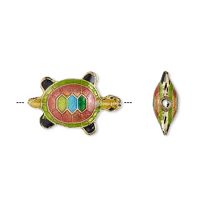 bead, enamel and gold-finished copper, multicolored, 20x13mm turtle with 0.8-1mm hole. sold per pkg of 4.