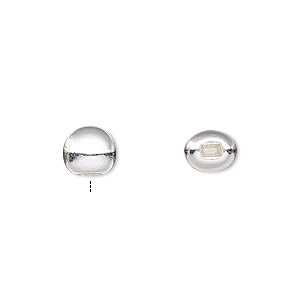 bead end, beadalon, silver-plated pewter (zinc-based alloy), 5mm half-drilled round with 2x1mm inside diameter, for use with flat memory wire. sold per pkg of 10.