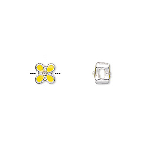 bead, epoxy / glass rhinestone / silver-finished pewter (zinc-based alloy), yellow and clear, 6x6mm cross-drilled double-sided flower with 2mm hole. sold per pkg of 4.