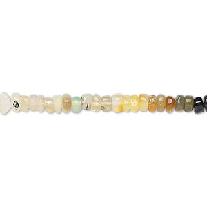 bead, ethiopian opal (natural), 3x2mm-5x3mm hand-cut rondelle, b grade, mohs hardness 5 to 6-1/2. sold per 16-inch strand.
