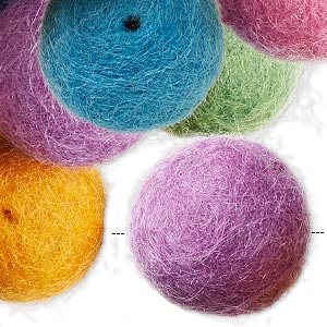 bead, felt, assorted colors, 22mm round. sold per pkg of 25.
