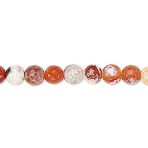 bead, fire crackle agate (dyed / heated), 6-7mm faceted round, b grade, mohs hardness 6-1/2 to 7. sold per 15-inch strand.