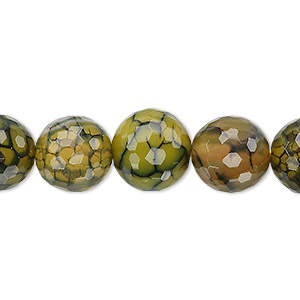 bead, fire crackle agate (dyed / heated), green, 12mm faceted round, b grade, mohs hardness 6-1/2 to 7. sold per 8-inch strand, approximately 15 beads.