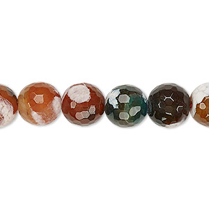 bead, fire crackle agate (dyed / heated), multicolored, 9-10mm faceted round, c grade, mohs hardness 6-1/2 to 7. sold per 15-inch strand.