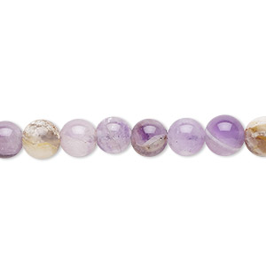bead, flower amethyst (natural), 6mm round, c grade, mohs hardness 7. sold per 16-inch strand.