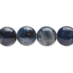 bead, flower dumortierite (natural), 12mm puffed flat round, b grade, mohs hardness 7. sold per 8-inch strand, approximately 15 beads.