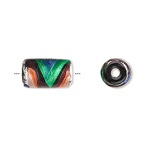 bead, foil-lined glass, italian millefiori accents, multicolored, 14x9mm tube. sold per pkg of 20.