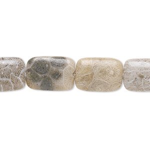 bead, fossil coral (natural), 14x10mm flat rectangle, b grade, mohs hardness 6-1/2 to 7. sold per 16-inch strand.