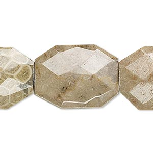 bead, fossil coral (natural), 35x25mm faceted puffed rectangle, b- grade, mohs hardness 6-1/2 to 7. sold per 16-inch strand.