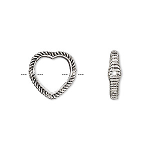 bead frame, antique silver-finished pewter (zinc-based alloy), 14mm open heart with rope edge and 0.7-0.8mm hole, fits up to 10mm bead. sold per pkg of 2.