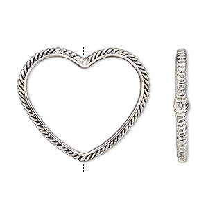 bead frame, antique silver-finished pewter (zinc-based alloy), 28x24mm open heart with rope edge and 0.7mm-0.8mm hole, fits up to 16mm bead. sold per pkg of 2.