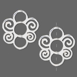bead frame, silver-finished pewter (zinc-based alloy), 27.5x26mm flower with cutout swirls, fits up to 7mm and 8mm beads. sold per pkg of 2.