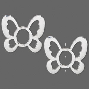 bead frame, silver-finished pewter (zinc-based alloy), 29.5x26mm butterfly, fits up to 10x8mm bead. sold per pkg of 2.