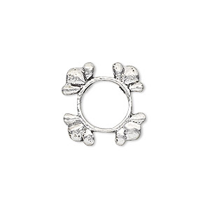 bead frame, sterling silver, 17mm round with 4 flowers, fits up to 8mm bead. sold individually.