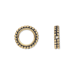 bead frame, tierracast, antique gold-plated pewter (tin-based alloy), 14x3mm beaded flat round, fits up to 8mm bead. sold per pkg of 2.