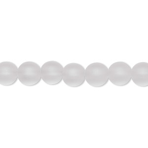 bead, frosted quartz crystal (natural), 7mm round, b grade, mohs hardness 7. sold per 16-inch strand.