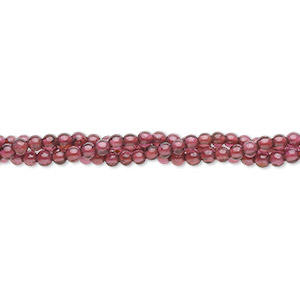 bead, garnet (dyed), 2mm hand-cut round, b grade, mohs hardness 7 to 7-1/2. sold per 16-inch strand.