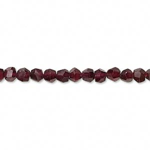 bead, garnet (dyed), 3-4mm irregular faceted round, c grade, mohs hardness 7 to 7-1/2. sold per 14-inch strand.