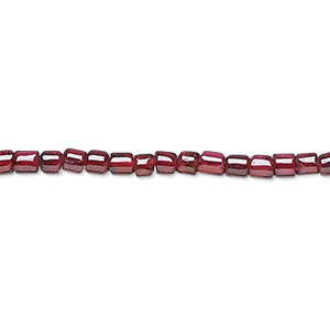 bead, garnet (dyed), 3x3mm hand-cut tube, c grade, mohs hardness 7 to 7-1/2. sold per 16-inch strand.