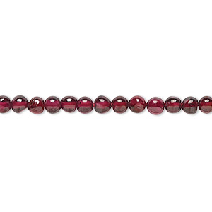 bead, garnet (dyed), 4mm hand-cut round, b grade, mohs hardness 7 to 7-1/2. sold per 16-inch strand.