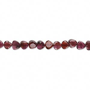 bead, garnet (dyed), 4x2mm-5x3mm hand-cut faceted teardrop, c grade, mohs hardness 7 to 7-1/2. sold per 14-inch strand.