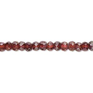 bead, garnet (dyed), 4x2mm-5x4mm hand-cut faceted rondelle, b- grade, mohs hardness 7 to 7-1/2. sold per 14-inch strand.