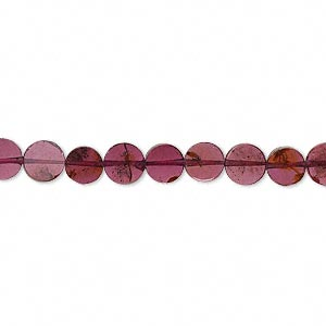 bead, garnet (dyed), 5x1mm-6x2mm hand-cut flat round, b- grade, mohs hardness 7 to 7-1/2. sold per 16-inch strand.