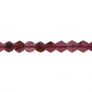 bead, garnet (dyed), 5x2mm-6x5mm flat hexagon, b- grade, mohs hardness 7 to 7-1/2. sold per 16-inch strand.