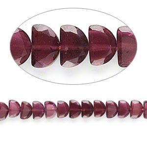 bead, garnet (dyed), 5x4mm-7x5mm hand-cut faceted flat half-round, c grade, mohs hardness 7 to 7-1/2. sold per 16-inch strand.