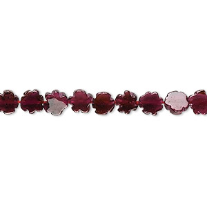 bead, garnet (dyed), 5x5mm-6x6mm hand-cut flower, b grade, mohs hardness 7 to 7-1/2. sold per 16-inch strand.