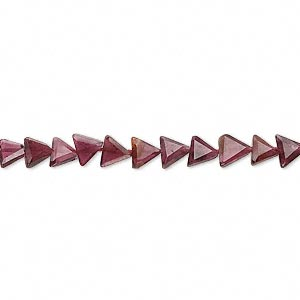 bead, garnet (dyed), 5x5x4mm hand-cut faceted flat triangle, b grade, mohs hardness 7 to 7-1/2. sold per 14-inch strand.