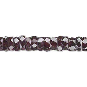 bead, garnet (dyed), 7x3mm-8x4mm hand-cut faceted heishi, b- grade, mohs hardness 7 to 7-1/2. sold per 14-inch strand.