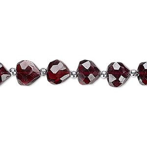 bead, garnet (dyed), 7x6mm-9x7mm hand-cut faceted puffed teardrop, b- grade, mohs hardness 7 to 7-1/2. sold per 8-inch strand.