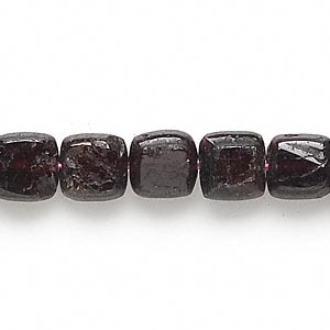 bead, garnet (dyed), 9x9mm-10x10mm puffed square, d grade, mohs hardness 7 to 7-1/2. sold per 15-inch strand.