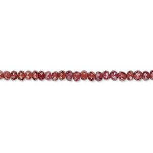 bead, garnet (natural), 2x1mm-3x2mm hand-cut faceted rondelle, b grade, mohs hardness 7 to 7-1/2. sold per 8-inch strand.