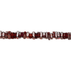 bead, garnet (natural), 4x1mm-6x2mm hand-cut square rondelle, b grade, mohs hardness 7 to 7-1/2. sold per 8-inch strand, approximately 95-150 beads.