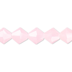 bead, glass, 16-facet, frost pink, 10mm faceted bicone. sold per 16-inch strand.
