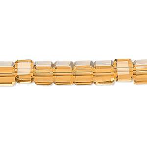 bead, glass, 18-facet, gold, 6x6mm faceted cube. sold per 16-inch strand.