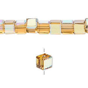 bead, glass, 18-facet, gold ab, 6x6mm faceted cube. sold per 16-inch strand.