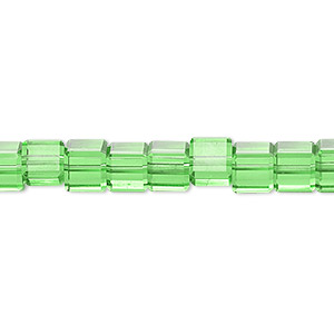 bead, glass, 18-facet, lime green, 6x6mm faceted cube. sold per 16-inch strand.